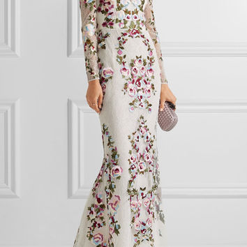 Zuhair Murad - Embroidered silk-blend lace gown