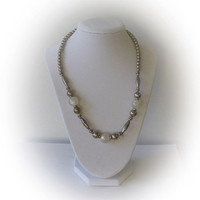 Vintage Silver Plated and Mineral Bead Necklace