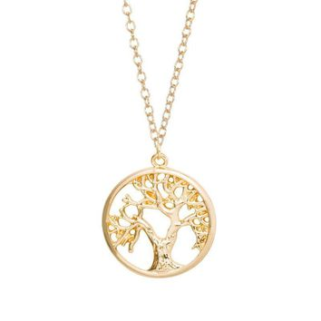 Necklace Tree of Life Pendant | Cute Tiny Tree in Circle Necklaces