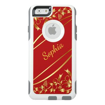 Red and chic gold colored classic decor name OtterBox iPhone 6/6s case
