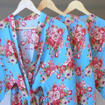 Aqua Blue Bridesmaid and Flower Girl Floral Kimono Robe