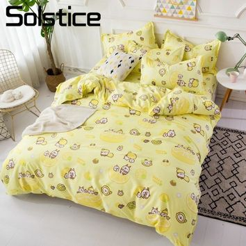 Solstice Home Textile Twin Full King Queen Bed Linen Set Lemon Yellow Cartoon Duvet Cover Sheet Pillowcase Kid Girl Teen Bedding