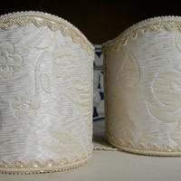 Pair of Clip-On Shield Shades Rubelli White Angiolieri Fabric Mini Lampshade - Handmade in Italy