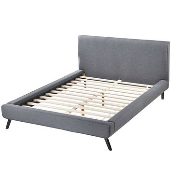 Full size Mid Century Platform Bed with Gray Upholstered Headboard