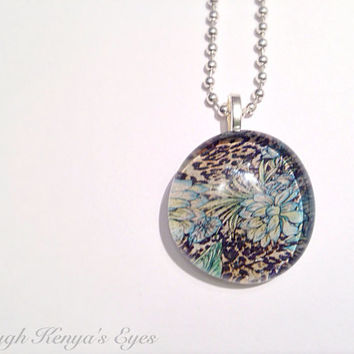 Through Kenya's Eyes - Hand Fired Glass - Floral Pendant - Leopard Print - Blue Hibiscus - Tropical Flowers  -Recycled Pendant Necklace