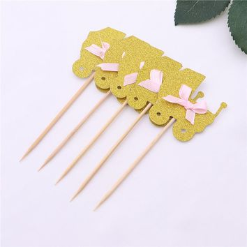 5 PCS Girl Baby Shower Cake Toppers Set Stroller Shapes