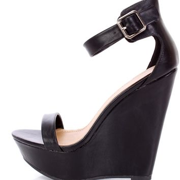 Black Open Toe Ankle Strap Platform Wedges Faux Leather