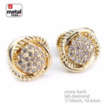 Jewelry Kay style Men's Fashion Brass 14k Gold Plated Dome Round Screw Back Stud Earrings BE 058 G