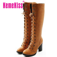 Free shipping knee boots women fashion snow winter footwear high heel shoes sexy warm half boot P7932 EUR size 34-39