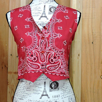 Bandana top / size S / red bandana cotton shirt / country music festival shirt