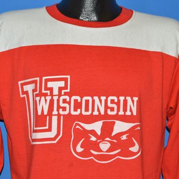 80s University of Wisconsin Badger Jersey Style t-shirt Large