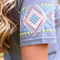 Just A Touch of Aztec Tee - H. Grey