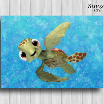 Finding Nemo Nursery Poster Disney Art Nautical Wall Decor Turtle Painting