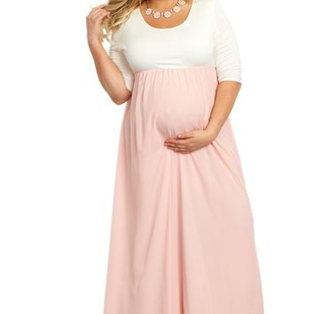 bbff7c70fb3 PinkBlush Maternity Chiffon Colorblock Plus Maxi Dress