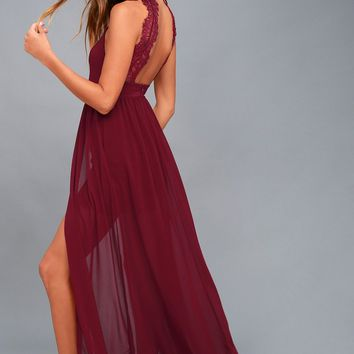 My Beloved Burgundy Lace Maxi Dress