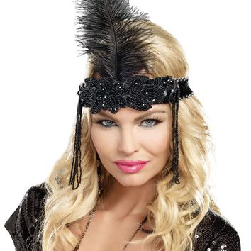 Beaded Feather Flapper Head Piece (One Size,Black)