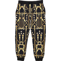 River Island MensBlack Jaded gold zip print joggers