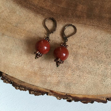 Red Jasper Earrings, Semiprecious Earrings, Dangle Earrings, 10 Dollar Earrings, Womens Earrings