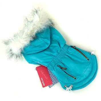 Fur Trimmed Dog Hoodie Candy Color Puppy Cat Warm Coat Waterproof Pet Costume