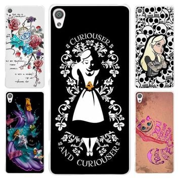 Hot sale Alice in Wonderland punk Clear Cover Case for Sony Xperia Z1 Z2 Z3 Z4 Z5 M4 Aqua M5 XA XZ C4 E5 l36h