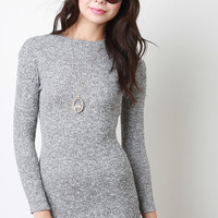 Mock Neck Melange Knit Mini Dress