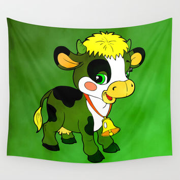 Childhood Cow Wall Tapestry by Texnotropio