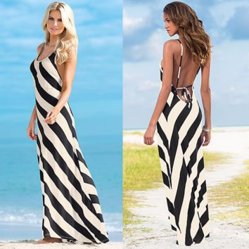 Beautiful Printed Stripe Long Summer Beach Dress