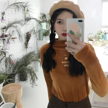2018 Spring Korea Women's New solid color kawaii letter Embroidery half-collar long sleeve T-shirt velvet warm Harajuku Top