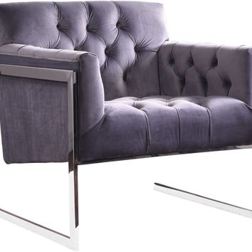 Riley Grey Velvet Accent Chair