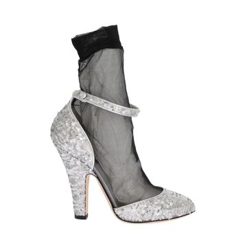 Dolce & Gabbana Silver Sequined Leather Socks Pumps