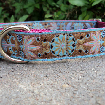 Zinnia Earth   1 Quick Snap Dog Collar by fairytailcollars on Etsy