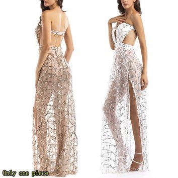 Fashion fringed sequined dress, breast-wiping, back-pulling dress, open-ended long dress
