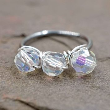 Iridescent Clear Rainbow Beaded Cartilage Hoop Tragus Hoop Helix Hoop Earring