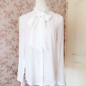 Elegant White Blouse - Womens Blouses - Vintage Style silk blouse. Ladies Shirts - White Blouse with Big Bow - Petite White Silk Blouse