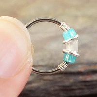 18 or 20 Gauge Teal Beaded Nose Hoop Ring or Cartilage Hoop Earring