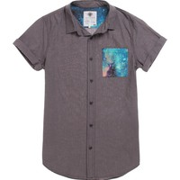 On The Byas Ryder Cosmic Pocket Short Sleeve Woven Shirt - Mens Shirt - Gray -