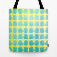 Jelly Desert Pattern - green, blues and yellow wobbliness  Tote Bag by RunnyCustard Illustration