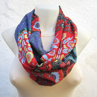 infinity scarf Loop scarf Neckwarmer Necklace scarf Fabric  Chiffon Scarf   Red Black Green Purple
