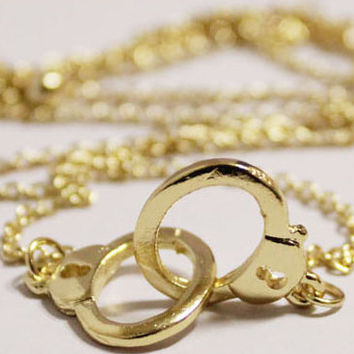 Handcuff Necklace,Gold Necklace,Silver Necklace.Bridesmaids Jewelry.Best Chosen Gift