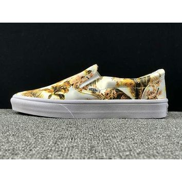 Summer Newest Vans Floral Pattern Slip on Yellow Sneaker Casual Shoes