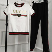 GUCCI Popular Casual Print Top Pants Trousers Set Two-piece Sportswear White I11930-1
