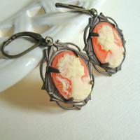 Peach Cameo Earrings in Brass Setting by TheBrassHussy on Etsy