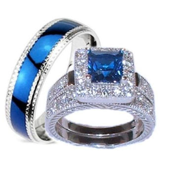 His Hers 3 Piece Wedding Ring Set Sapphire Blue Cz Sterling Silver Wedding Rings