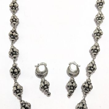 Silver plated beaded necklace and earring set
