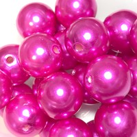 16mm hot pink pearl chunky bubblegum beads