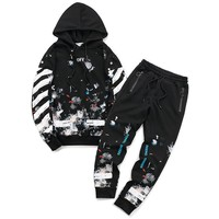 Off White Women Men Fashion Casual Top Sweater Hoodie Pants Trousers Set Two-Piece