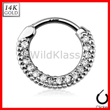 14k Gold Ring 16G 14G Solid White Gold Septum Clicker Ring Nipple Ring Lip Earring Cartilage Helix Hex Piercing Tragus Jewlery Conch Ring