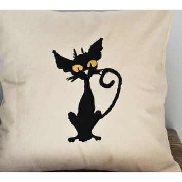 Black Cat pillow cover, halloween pillow case,  gift pillow cover ,Halloween cat  pillow cover, Day of the dead throw pillow cover