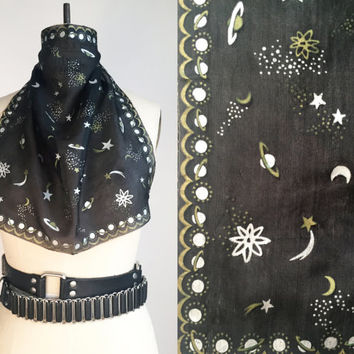 50s Silk Scarf Vintage Silk Scarf Sheer Black Scarf Hand Rolled Edges Hand Painted Silver Gold Stars Moons Planets Witchy Scarf Goth Scarf