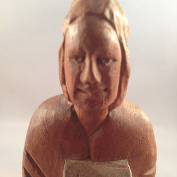 Vintage Hand Carved Wooden Monk